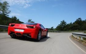 Обои небо, Italia, италия, 458, суперкар, Ferrari, дорога