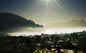 Обои солнце, лучи, свет, горы, туман, фото, обои