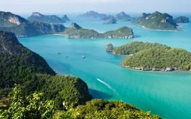 Обои острова, море, деревья, горы, koh samui, таиланд, лодка