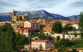 Обои город, фото, гора, дома, Испания, Rioja Alavesa