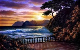 Обои закат, Anthony Casay, живопись, море