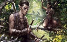 Обои лес, девушка, арт, эльфы, парень, татуировки
