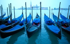 Обои утро, Венеция, канал, раннее, гондолы, watercourse
