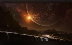 Обои вода, скалы, планета, Eslewhere