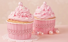 Обои украшения, розовый, крем, pink, sweet, cupcake, кекс