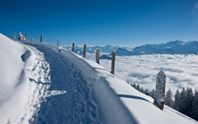 Обои зима, дорога, снег, пейзаж, горы, красота
