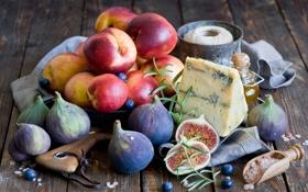 Обои фрукты, еда, нектарин, натюрморт, сыр, ягоды, черника