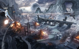 Обои скалы, планета, взрывы, вертолеты, арт, самолеты, истребители