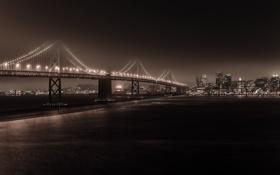 Картинка осень, небо, ночь, мост, lights, огни, темный