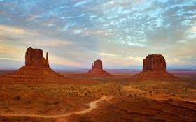 Картинка горы, Аризона, Arizona, Utah, Monument Valley, пустыны