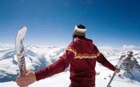 Обои фото, настроение, обои, спорт, лыжи, парень, горы