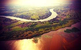 Картинка поле, солнце, пейзаж, река, зеркало, канал