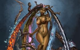 Обои змеи, девушка, монстр, лук, арт, обнажена, медуза горгона