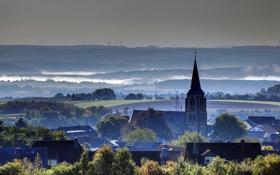 Картинка туман, дома, Германия, горизонт, городок, Ландкерн