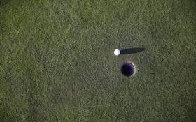 Обои поле, мяч, лунка, зеленое, гольф