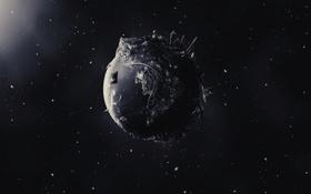 Картинка космос, звезды, пространство, креатив, фантастика, планета, чёрно-белое