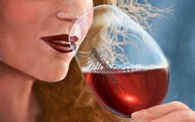 Обои девушка, вино, бокал, арт, губы, насекомое