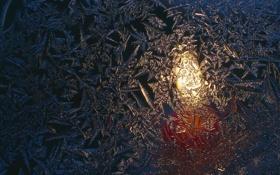 Картинка стекло, пламя, узоры, свеча, мороз