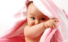 Обои взгляд, полотенце, малыш
