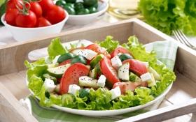 Картинка овощи, помидоры, оливки, огурцы, салат, фета