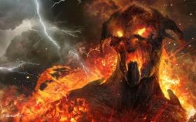 Обои гнев, огонь, молнии, дым, Арт, титан
