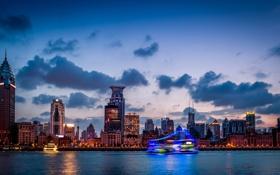 Обои China, здания, Китай, Shanghai, Шанхай, ночной город, река Хуанпу