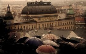 Обои зонты, дождь, город, крыши, здания, дома