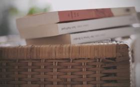 Обои корзина, книги, корзинка, плетение