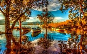Картинка небо, деревья, горы, озеро, лодки