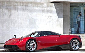 Картинка Красный, Машина, Red, Car, Автомобиль, Пагани, Pagani Huayra