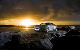 Картинка машина, авто, пляж, закат