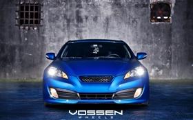 Обои асфальт, синий, стена, Hyundai, blue, хёндай, Genesis