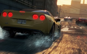 Обои город, гонка, chevrolet corvette, need for speed most wanted 2, супркары