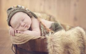 Картинка ребенок, спит, мех, шапочка