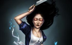 Обои бабочки, игра, Алиса, нож, Alice Madness Returns
