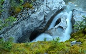 Картинка поток, горы, скалы, вода, водопад