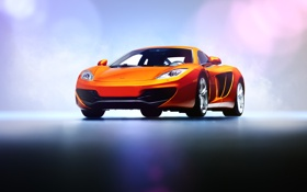 Картинка оранжевый, блики, McLaren, суперкар, подиум, MP4-12C, front