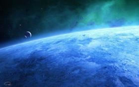Картинка космос, свет, синева, планета, пыль, большая, planet