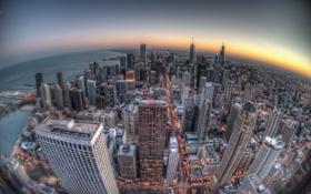 Обои закат, здания, Чикаго, Chicago, небоскрёбы