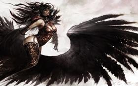 Обои девушка, крылья, ангел, арт, Guild Wars 2