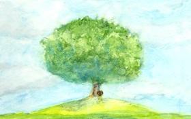 Картинка природа, дерево, рисунок, картина, арт