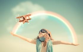 Обои лётчик, небо, самолёт, игра, игрушка, ребёнок, радуга