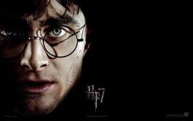 Обои лицо, очки, Гарри Поттер, чёрный фон, Гарри Поттер и Дары Смерти, Harry Potter and The ...