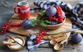 Картинка ягоды, сахар, натюрморт, красная смородина, инжир