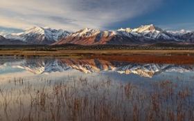 Обои небо, отражения, горы, озеро