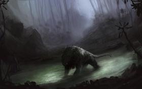 Картинка лес, вода, туман, болото, монстр, чаща, арт