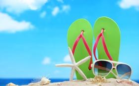 Обои море, пляж, лето, солнце, отдых, очки, summer