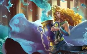 Обои вода, девушка, блондинка, ваза, Heroes of Newerth, Gravekeeper, Wave Queen Hestia