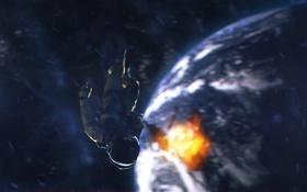 Обои космос, взрыв, фантастика, земля, планета, космонавт, скафандр