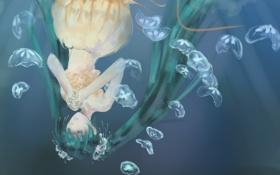 Картинка вода, девушка, медузы, vocaloid, hatsune miku, зеленые волосы